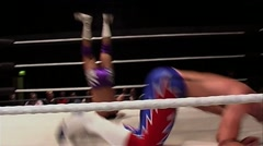 Dropkick to face - pro wrestling move - stock footage