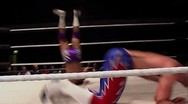 Dropkick to face - pro wrestling move Stock Footage