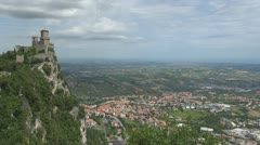 Aerial view of Republic of San Marino, Guaita Tower, Italy, Europe Stock Footage