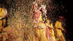 Hindu Ashram Dance during Holi Stock Footage