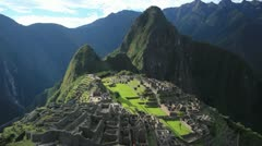 Machu Picchu with view of Huayna Picchu Stock Footage