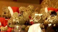 Toys (mouse) made of straw on the Christmas market in Budapest Stock Footage