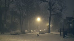 Chicago blizzard 2011 at night 2 Stock Footage