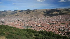 Cusco viewed from hill top at Sacsayhuaman Stock Footage