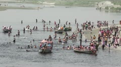 River by Vrindaban during the festival of Holi - stock footage