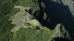 Machu Picchu viewed from the top of Huayna Picchu Stock Footage