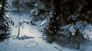 Children play in the snow at night Stock Footage