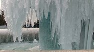 Frozen fountain in the park Stock Footage