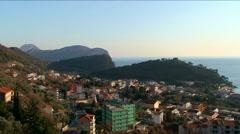Adriatic coastal town Petrovac on the seashore - stock footage