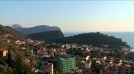 Adriatic coastal town Petrovac on the seashore Stock Footage