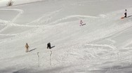 Stock Video Footage of Skiing in the snow