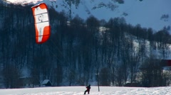 Snow Kite Surfing Stock Footage