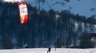 Stock Video Footage of Snow Kite Surfing