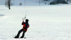 Snow Kite Surfing slow motion - stock footage