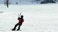 Snow Kite Surfing slow motion Stock Footage