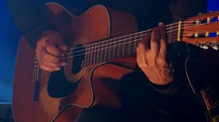 Acoustic guitar-colse up Stock Footage