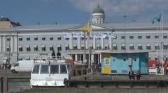 City Hall and Market square near Helsinki harbour Helsinki, Finland Stock Footage