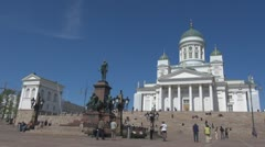 Stock Video Footage of Timelapse Evangelical Lutheran cathedral Helsinki Finland landmark emblem symbol