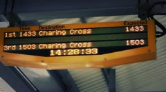 Train time platform display Stock Footage
