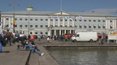 City Hall and Market square near Helsinki harbour Helsinki, Finland - stock footage