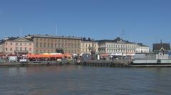 Market square near Helsinki harbour Helsinki, Finland Stock Footage