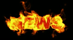 Burning news word. Stock Footage