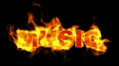 Burning music text,fire word. Stock Footage