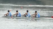 Stock Video Footage of Men rowing in racing contest