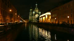 Savior on Blood - Christ the Savior Cathedral in St. Petersburg at night Stock Footage