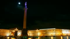 Palace Square in St. Petersburg, moonlit night - timelapse Stock Footage