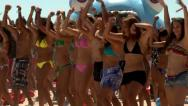 Stock Video Footage of beautiful models danceing on the beach