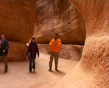 Travelers in the canyon Siq. Petra, Jordan. Stock Footage