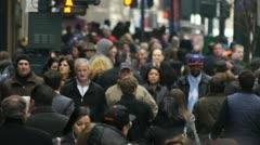 Crowd Walking Slow Motion New York City NY street urban sidewalk Times Square Stock Footage