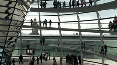 Inside the Reichstag dome, Berlin Stock Footage