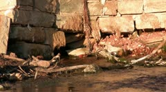 old rock spring fed water works - stock footage