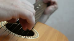 The musician playing  on classical Spanish guitar. Stock Footage