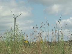 Windmill spin meadow Stock Footage