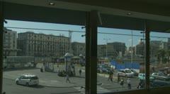 Napoli through a train station window Stock Footage