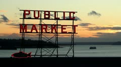 Public Market, Pike Place Market, Seattle Stock Footage
