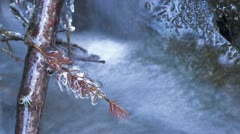 Timelapse of creek with twig capsulated by ice Stock Footage