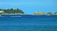 Tropical beach with jet-ski Stock Footage