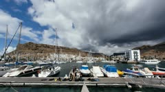 4K UHD Divers go diving in Port of Mogan Gran Canaria timelapse Stock Footage