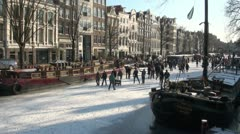 Frozen canals in Amsterdam Stock Footage