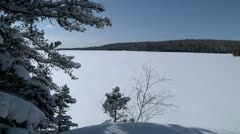 Sunny lake in winter Stock Footage