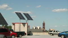 Solar panels in parking lot - stock footage