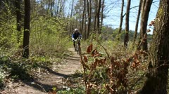 Cyclists on singletrack Stock Footage