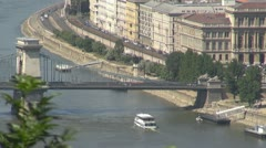 Timelapse The Széchenyi Chain Bridge and boats traffic, Budapest, Hungary Stock Footage