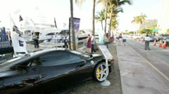 Ferrari on display at the Miami International Boat Show Stock Footage