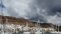 Divers go diving in Port of Mogan Gran Canaria timelapse HD Stock Footage