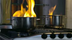 Home disaster: food getting burnt in pot Stock Footage